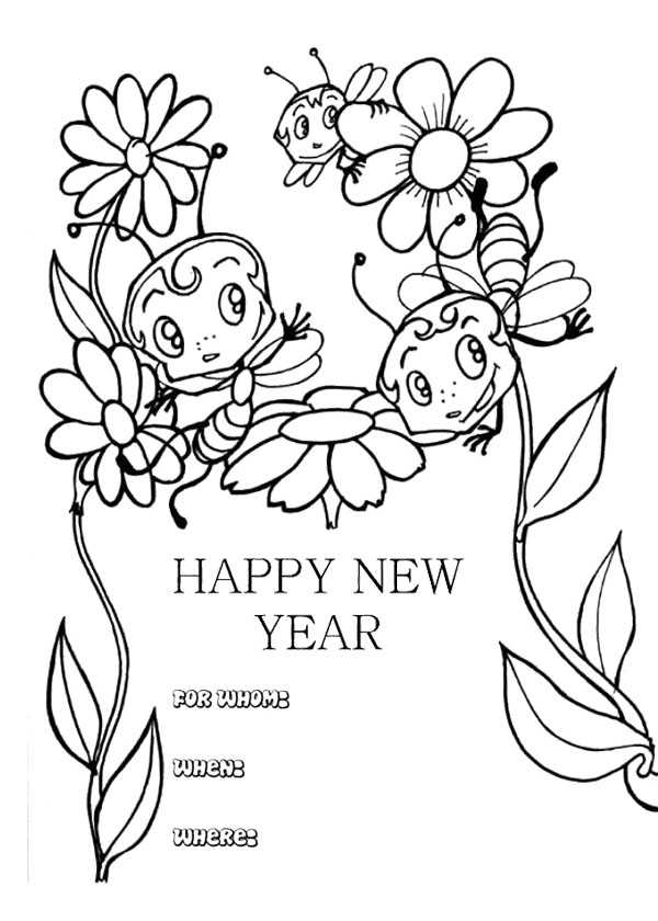 600x840 New Year Cards With Animal Coloring Page New Year Coloring Page
