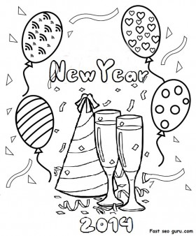 280x338 Printable Happy New Year 2014 Clipart Coloring Pages