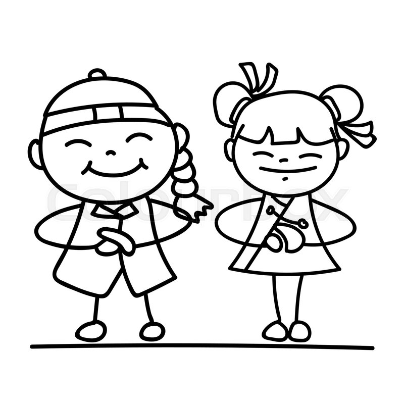 800x800 Set Of Hand Drawing Cartoon Character Chinese People And Kids