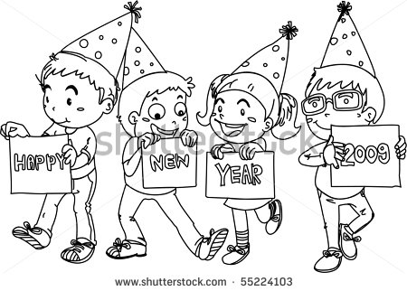 450x322 Sketch Of Kids Wishing Happy New Year On White Background By