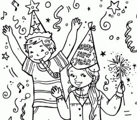 275x241 Vector New Year 2018 Coloring Page