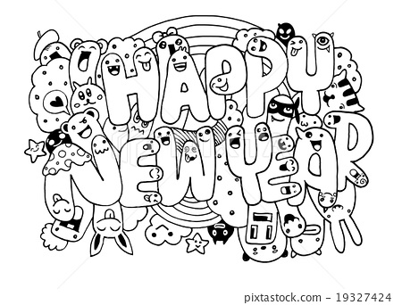 450x342 Doodle Style Happy New Year Sketch With Monsters