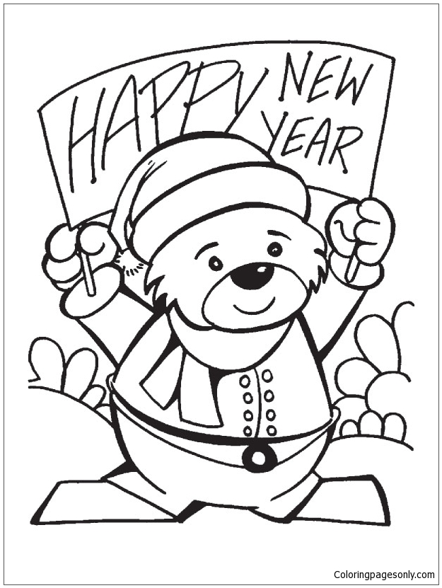 625x831 Happy New Year Teddy Bear Coloring Page