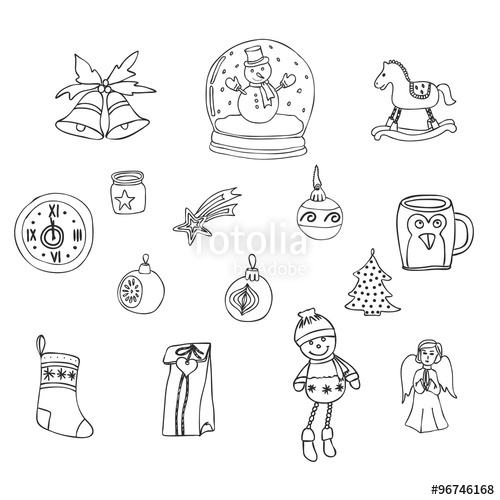 500x500 Winter,new Year, Christmas Outline Icons Set. Decorative Elements