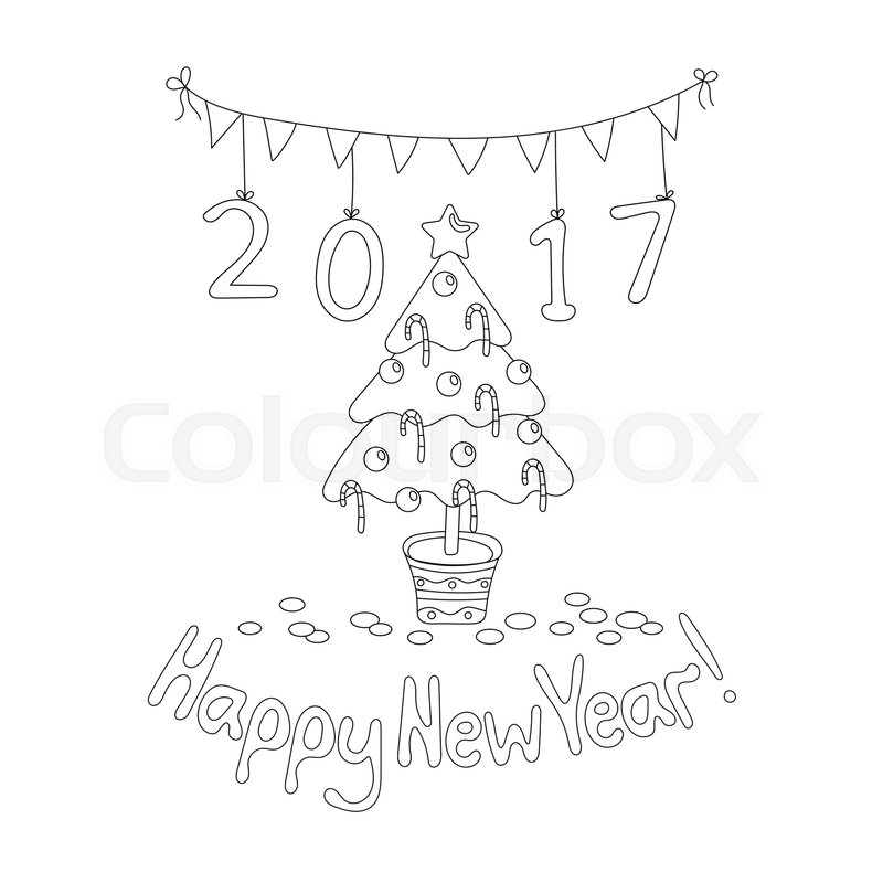 800x800 Coloring Book Page. Happy New Year Greeting Card With Spruce