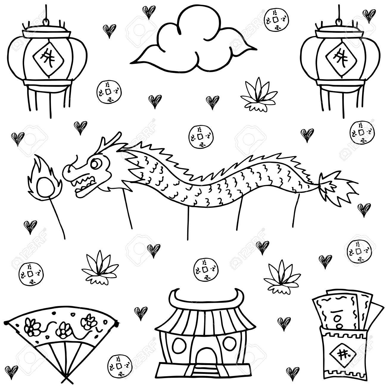 1300x1300 Hand Draw Of Chinese New Year Doodles Royalty Free Cliparts