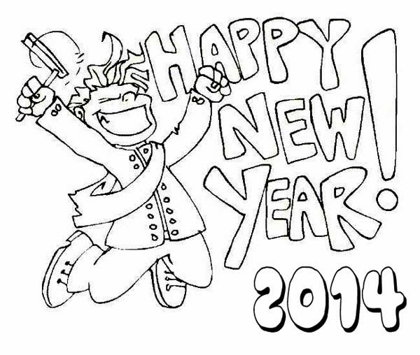 600x508 Happy New Year 2014 For Coloring