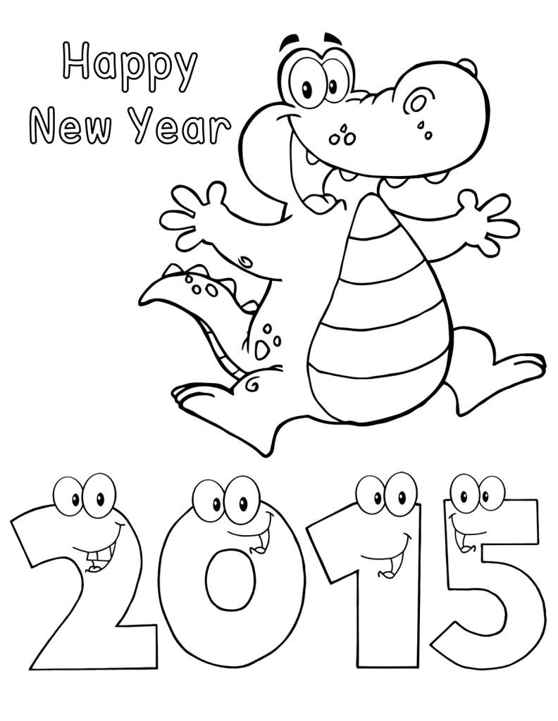 792x1024 New Year Drawing For Kids Happy New Year 2015 Alligator Worksheets