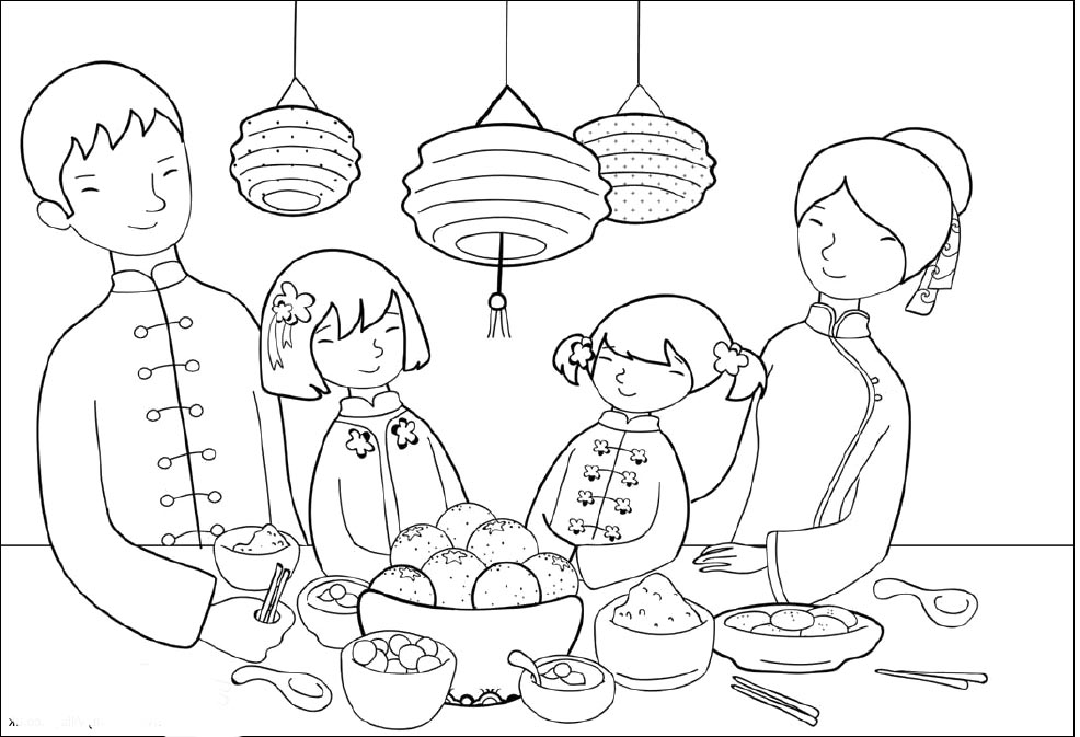 986x673 Chinese New Year Coloring Page