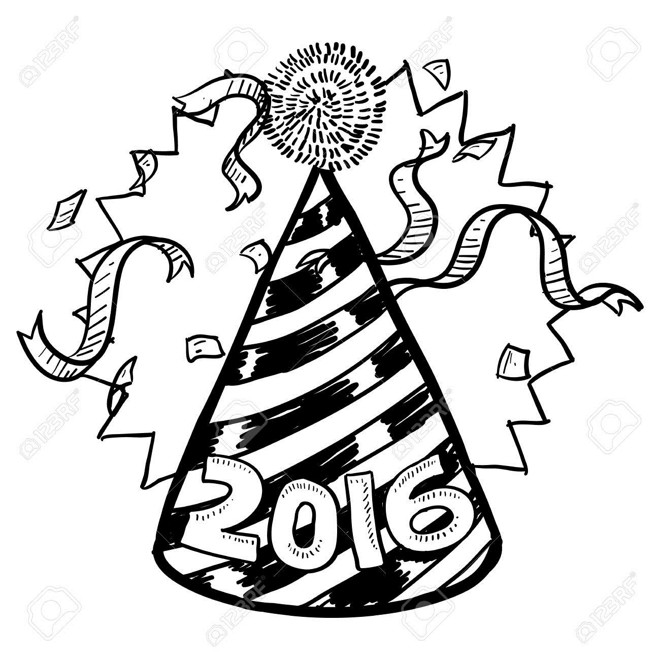 1300x1300 Party Hat New Year Drawings Merry Christmas Amp Happy New Year