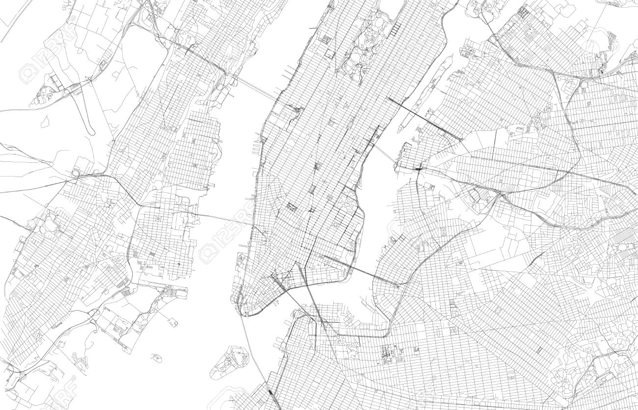 1300x836 Map New York City, Satellite View, Streets And Highways