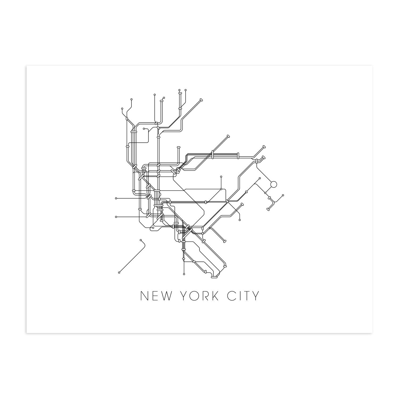 1500x1500 New York Subway Map (13 X 19 Print)