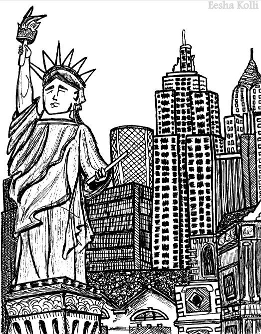 523x668 New York City Ball Pen Art Eesha Kolli