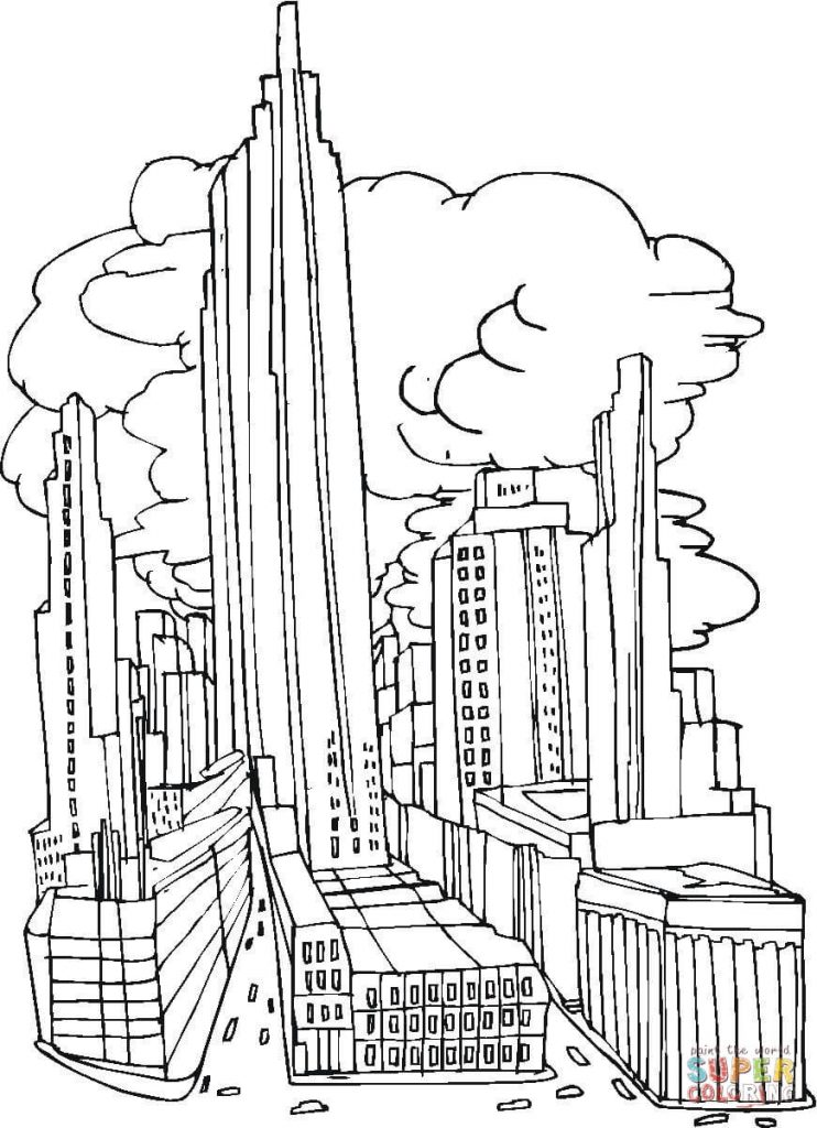 742x1024 Coloring For Kids New York City Before September 11 2001