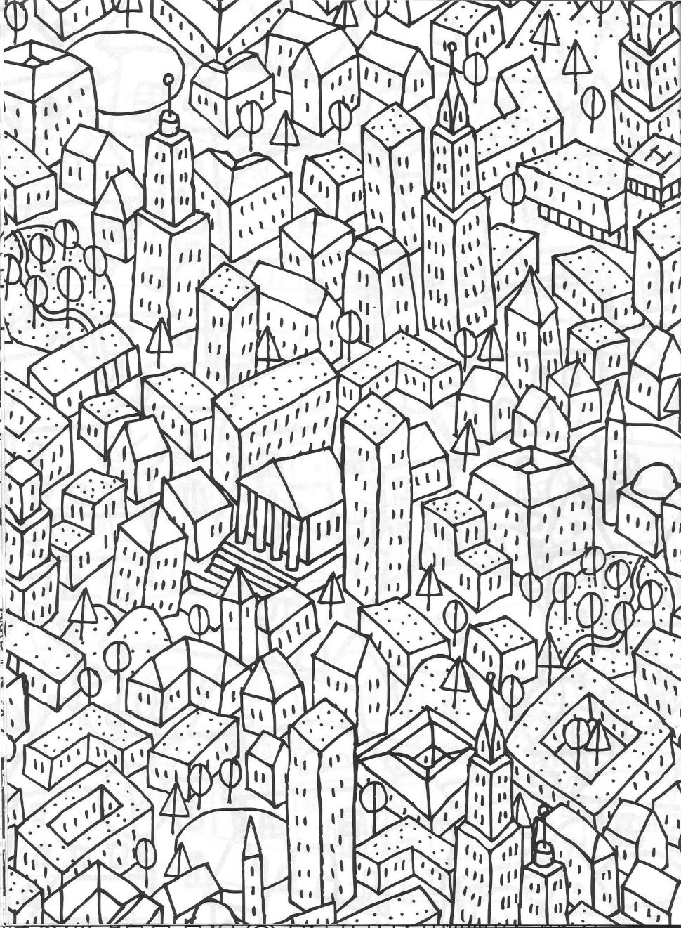 970x1321 Coloring Stock Vector Hand Drawn Panorama Of New York City