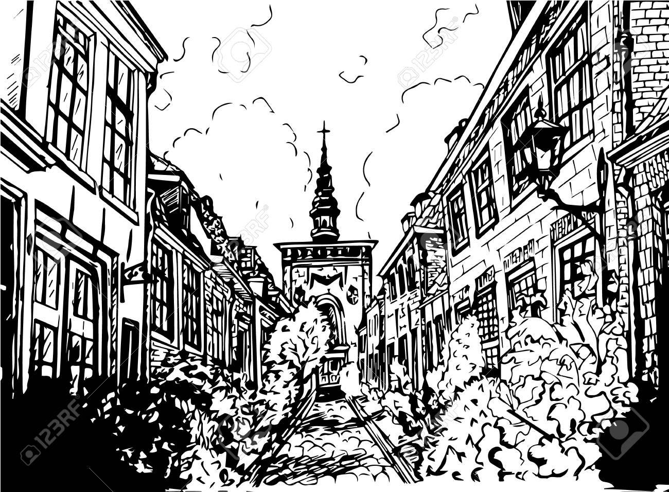 1300x956 Hand Drawn Black And White Illustration Of A City Royalty Free