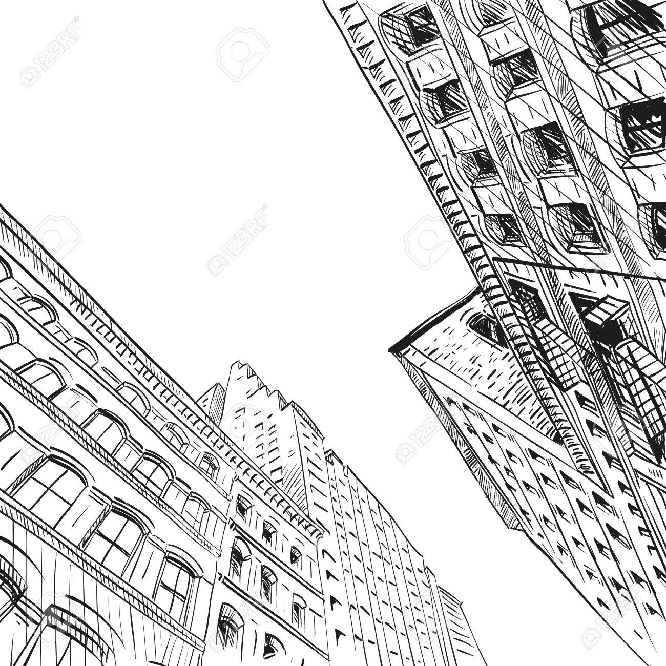 1300x1300 Hand Drawn Cityscape, Vector Illustration Royalty Free Cliparts