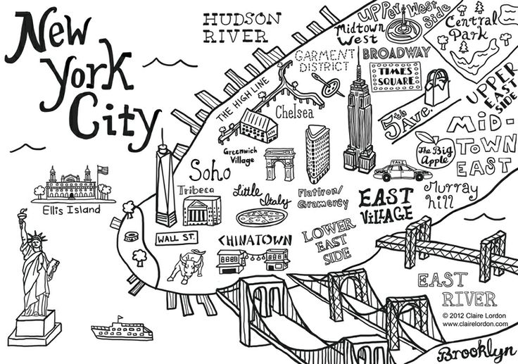 736x517 New York City Map Illustration Wall Decal By Claire Lordon New