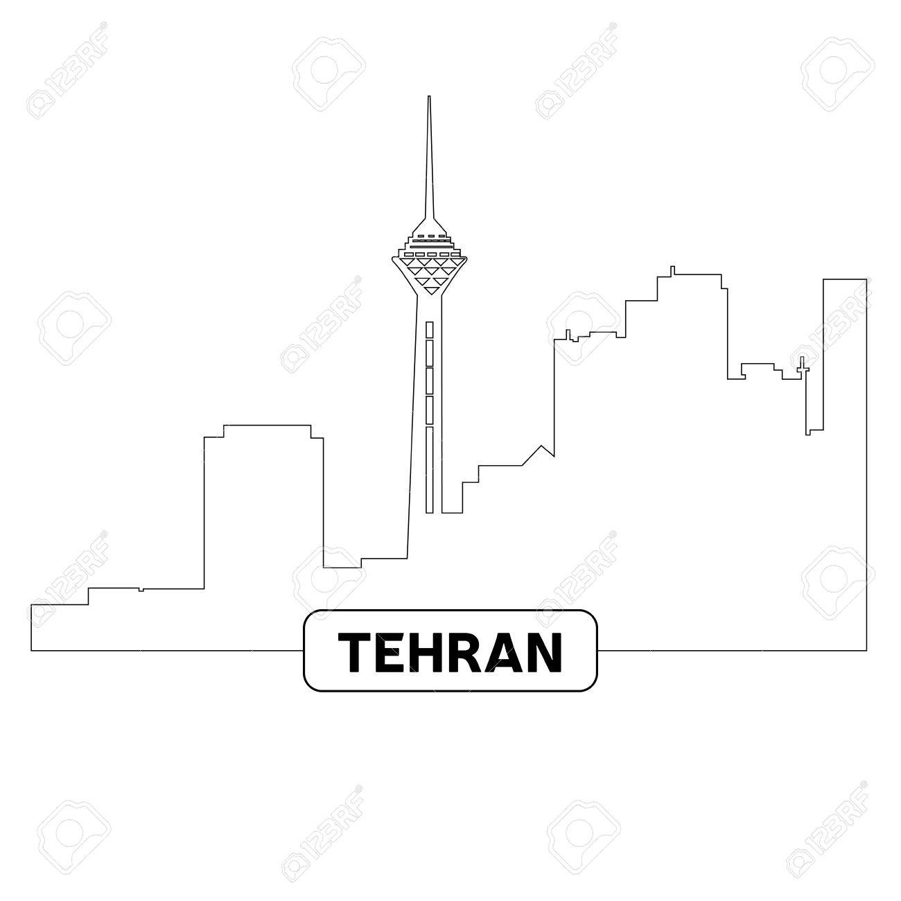 1300x1300 Outline Of A Cityscape Of Tehran, Vector Illustration Royalty Free
