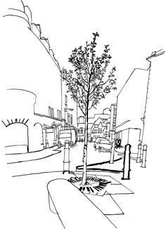 236x326 Lucinda Rogers Drawing Black And White Cityscape Bicycles Street