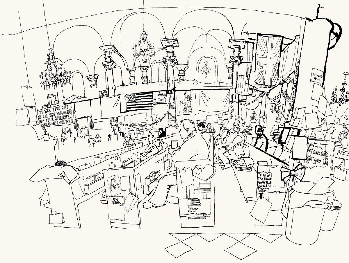 1200x906 Lucinda Rogers Ground Zero Ink Line Drawing September 11 New York