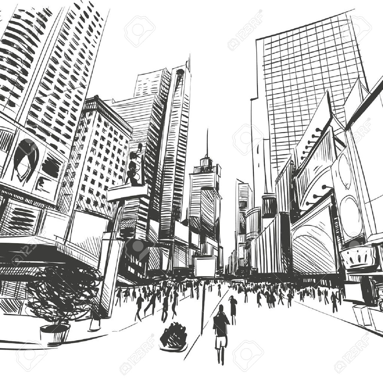 1300x1300 City Hand Drawn, Vector Illustration Royalty Free Cliparts