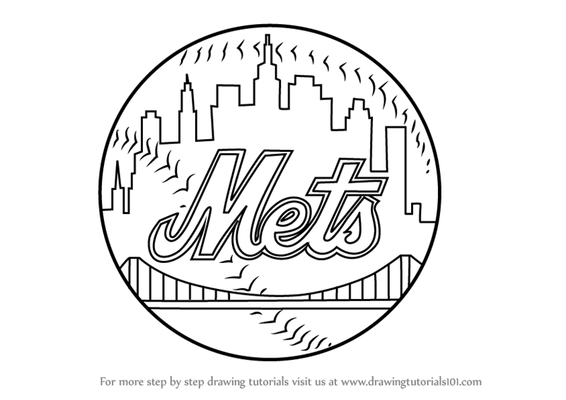 800x566 Learn How To Draw New York Mets Logo (Mlb) Step By Step Drawing