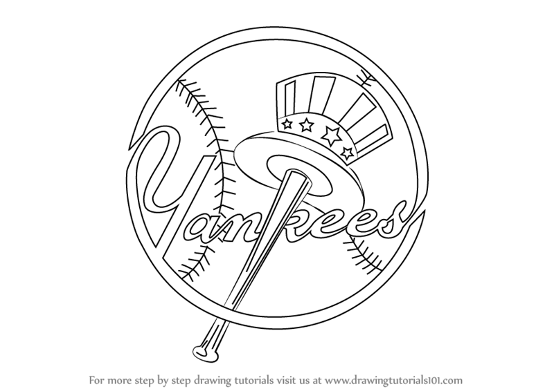 800x566 Learn How To Draw New York Yankees Logo (Mlb) Step By Step
