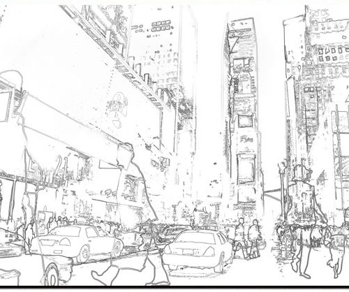 500x418 New York Taxis Drawing Border People, Rectangle