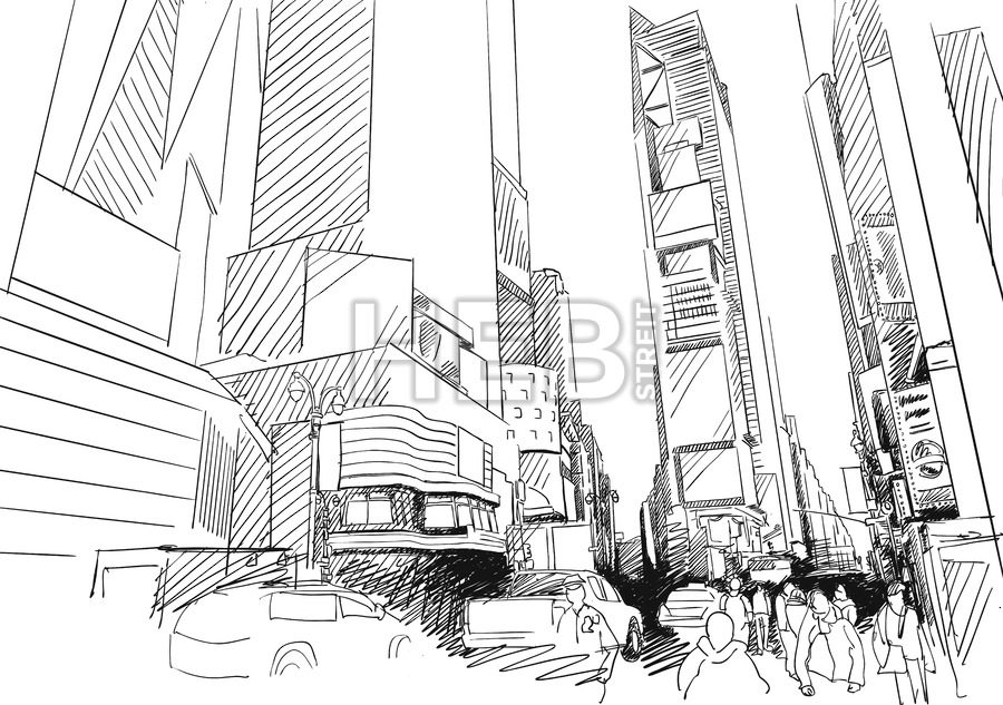 900x633 Time Square, New York City. Hand Drawn Vector Outline Sketch