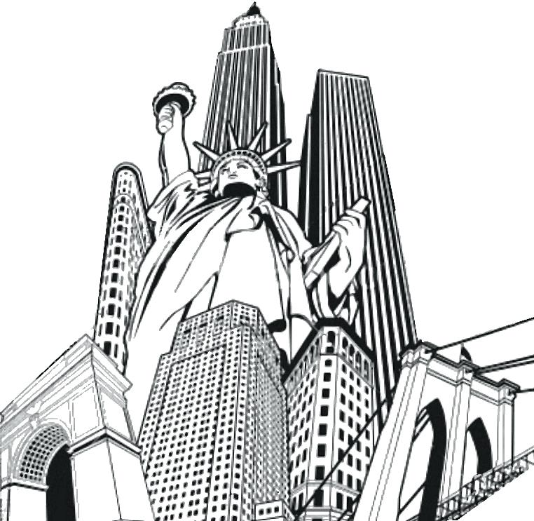 762x743 Free Printable New York City Coloring Pages Skyline Page
