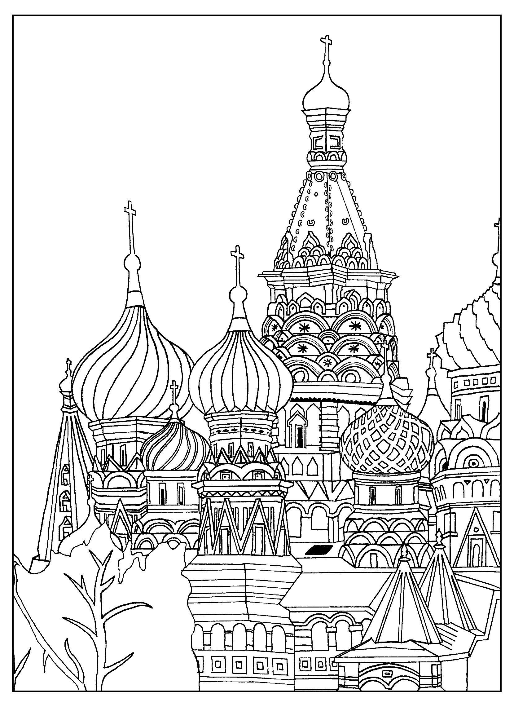 1659x2281 Free Adult Coloring Page Of The Saint Basil's Cathedral, In Red