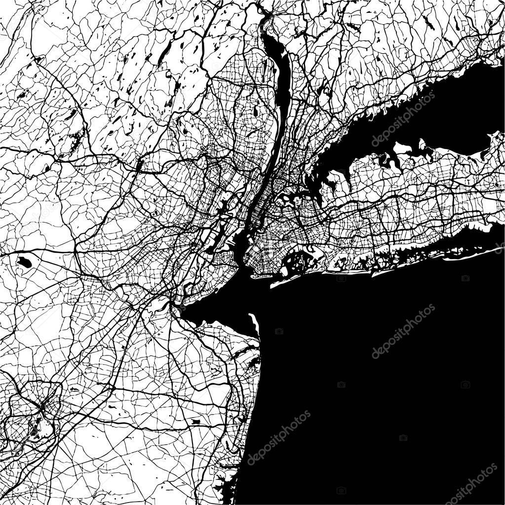 1023x1023 New York City, Usa, Monochrome Map Artprint Stock Vector Mail