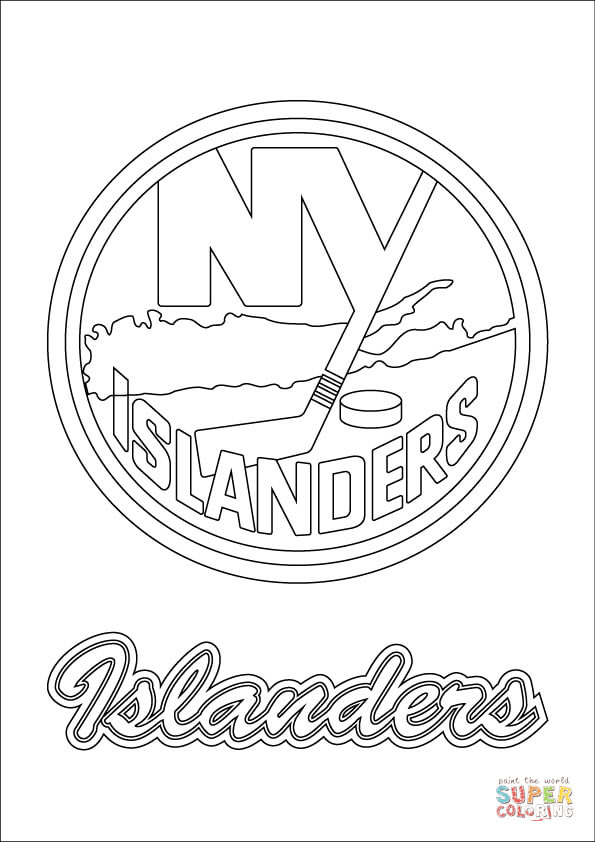 595x842 New York Islanders Logo Coloring Page Free Printable Pages