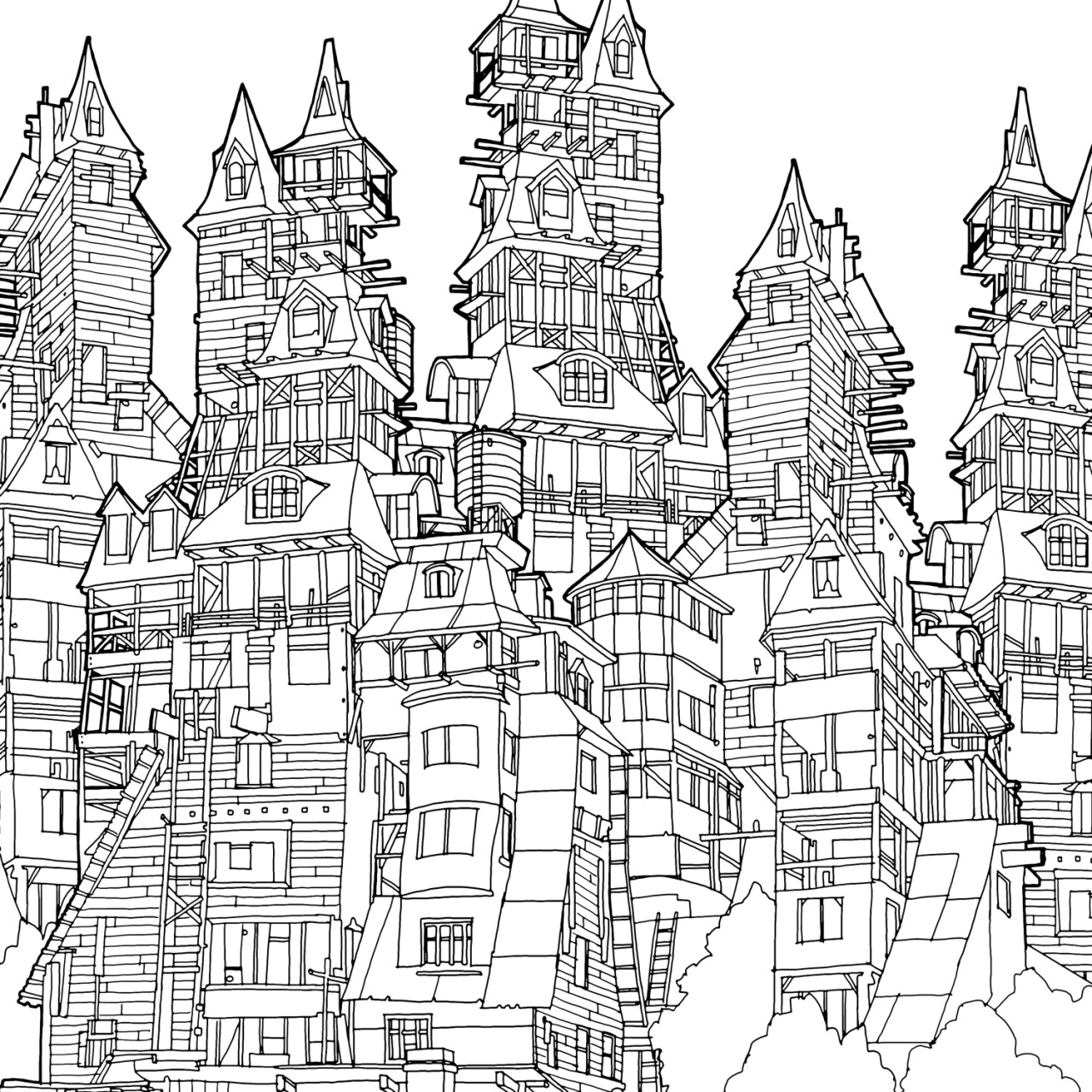 Coloring Pages Large Size Of Printable 1 1280x1280 Fantastic Cities Steve Mcdonald