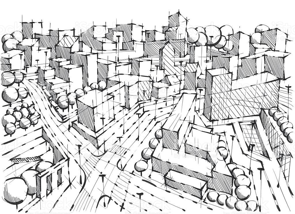 1024x742 Drawn City Black And White