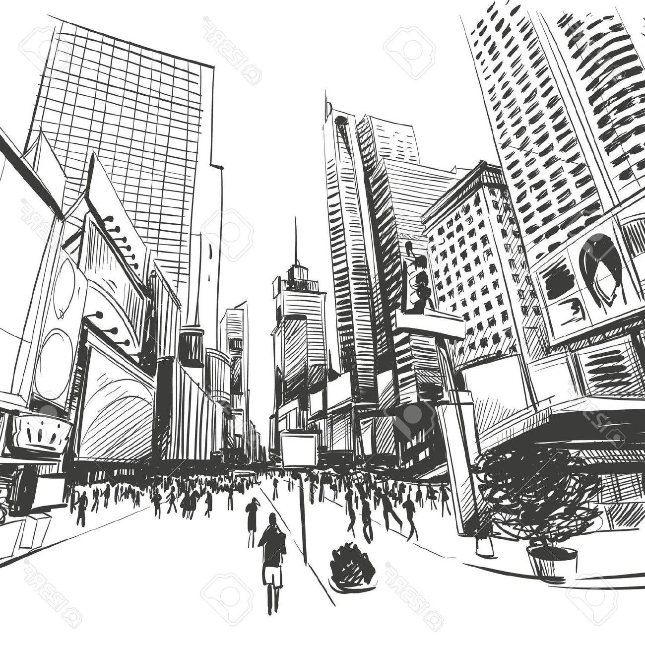 Line Drawing New York City Skyline : New york skyline line drawing at getdrawings free
