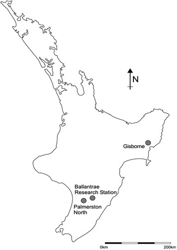 358x506 Map Of The North Island Of New Zealand Showing Gisborne Trial Site