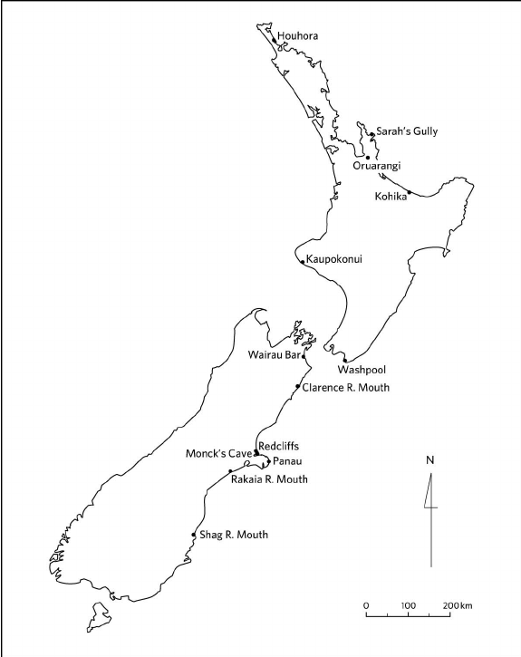 575x725 Map Showing New Zealand Sites Mentioned In Text. Scientific Image