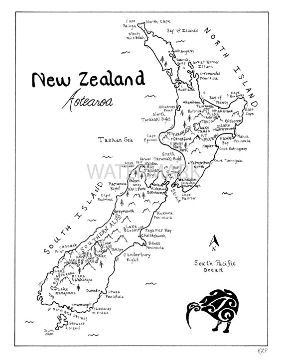 570x725 New Zealand Hand Drawn Map