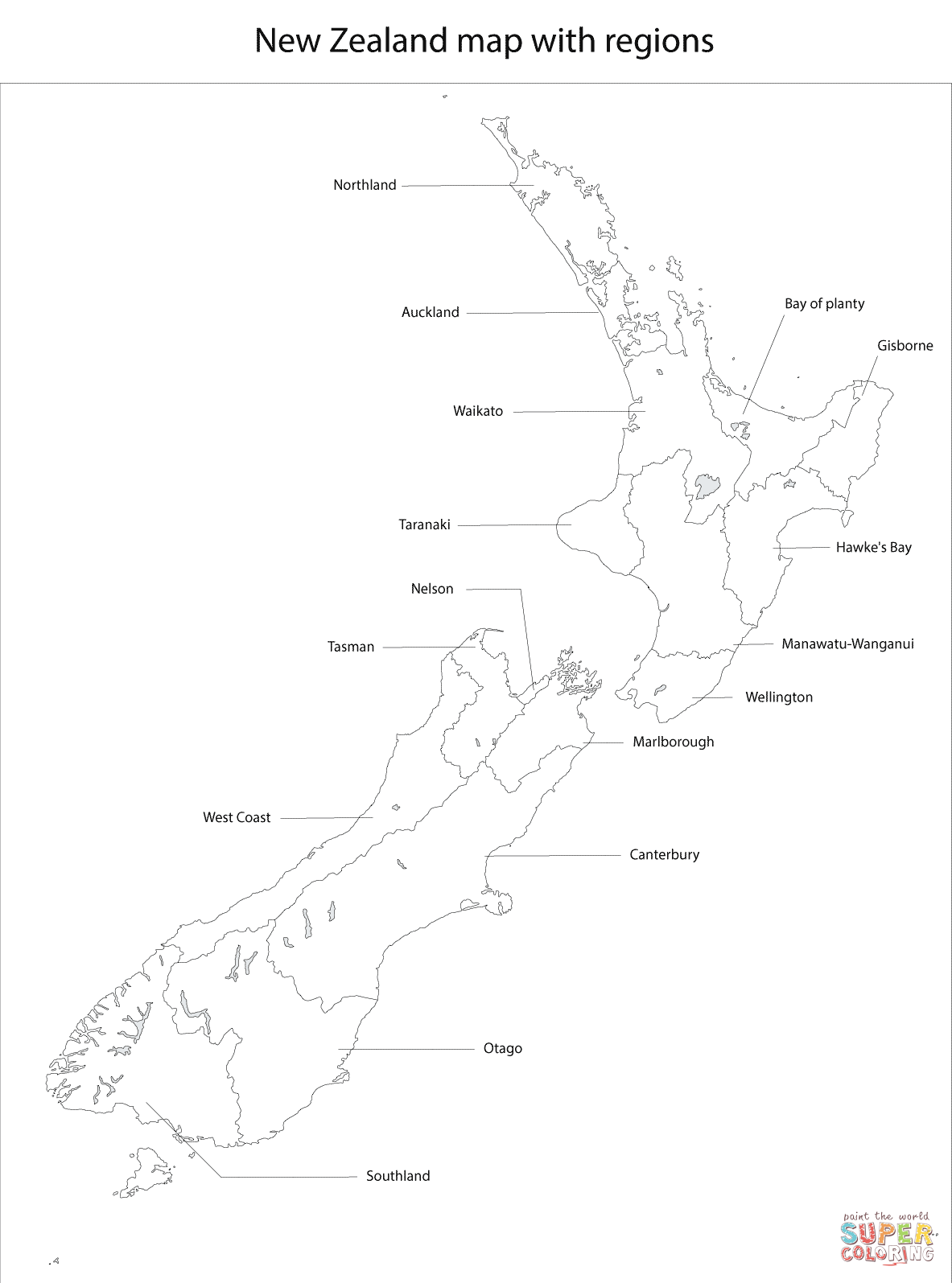 1183x1595 New Zealand Map With Regions Coloring Page Free Printable
