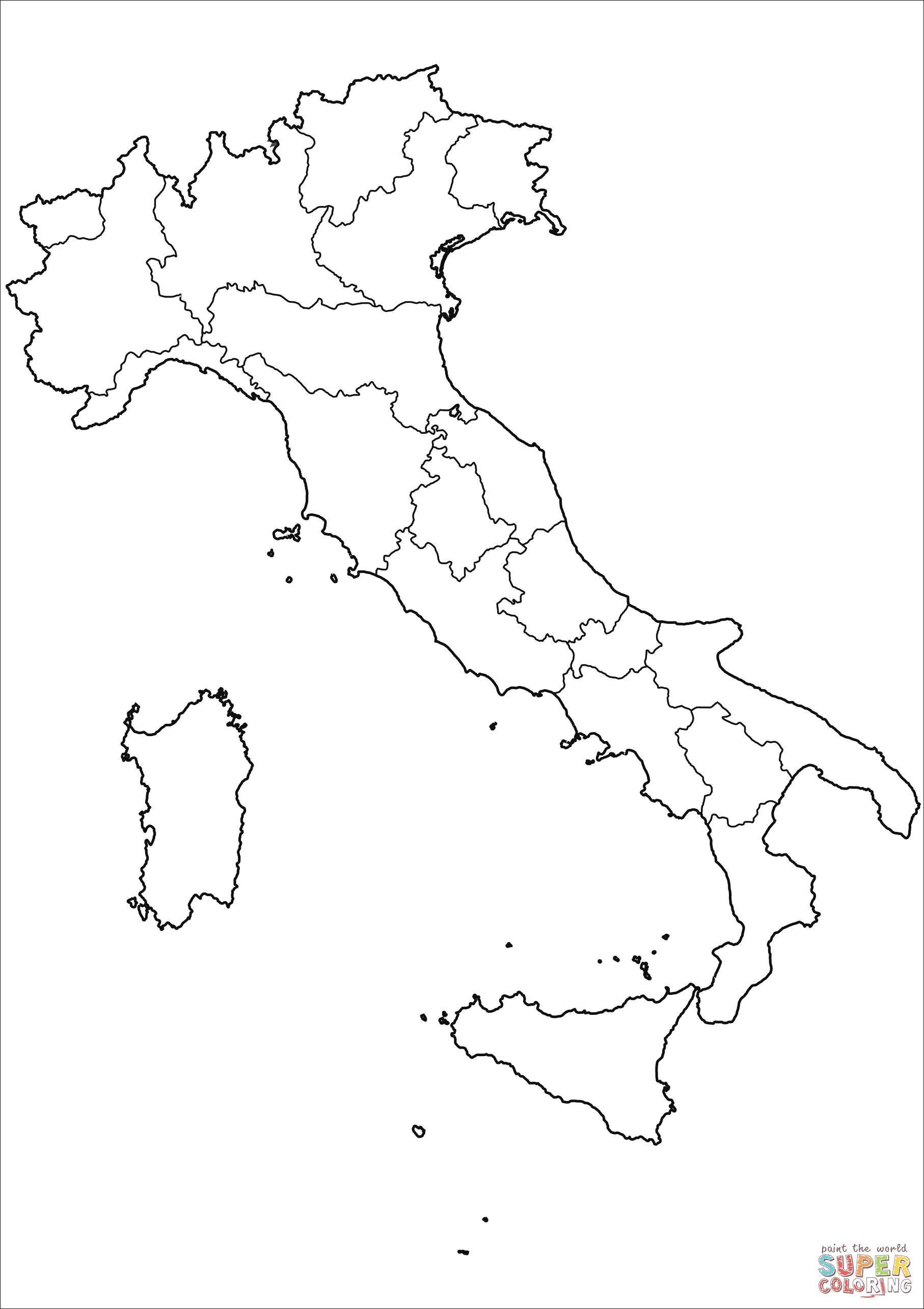 1814x2568 Outline Map Of Italy With Regions Coloring Page Free Printable