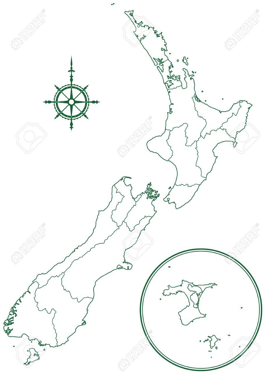928x1300 Contour Border Map Of The New Zealand. All Objects Are Independent