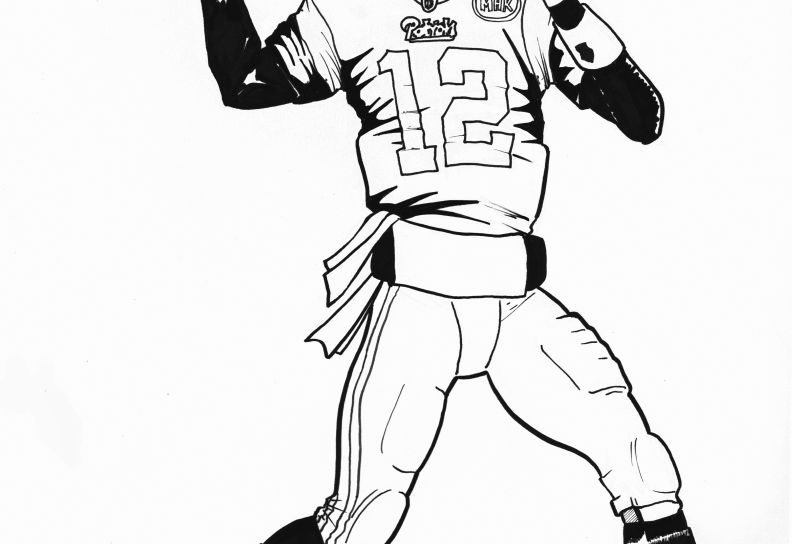 792x544 Football Player Drawing Playing Coloring Page Pages Nfl General