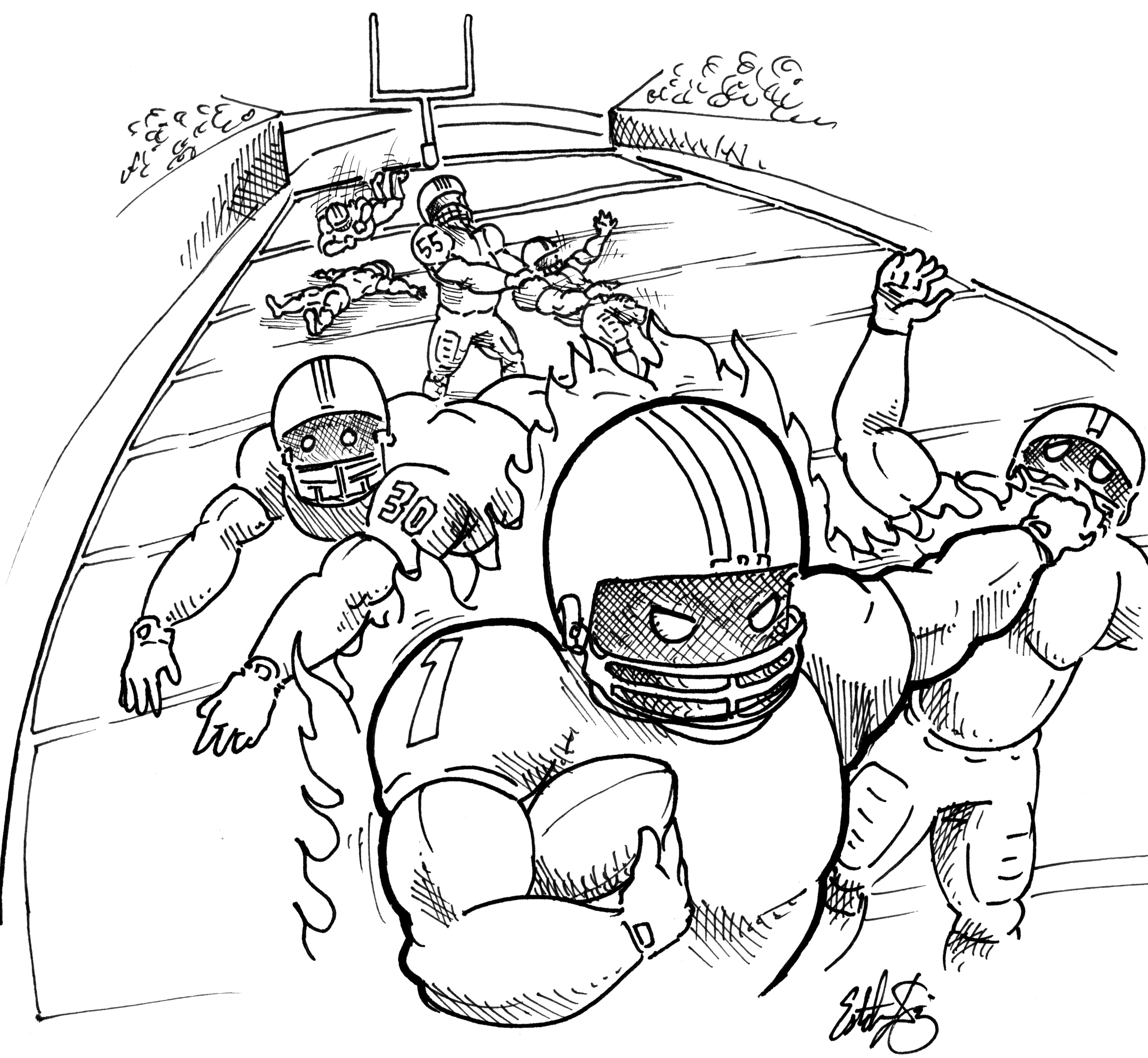 2272x2094 Cartoon Drawings Football Players