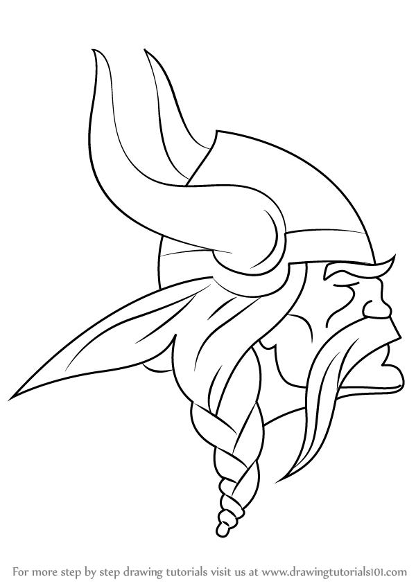 600x846 Learn How To Draw Minnesota Vikings Logo (Nfl) Step By Step
