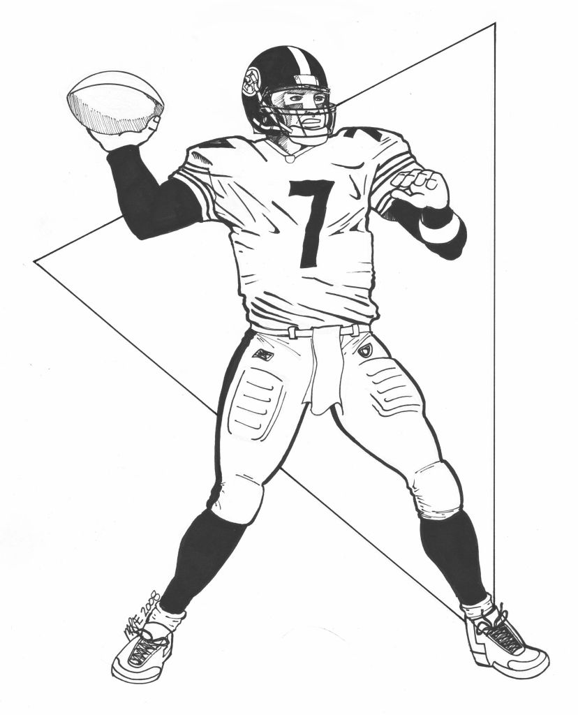 828x1024 Steelers Nfl Football Coloring Pages Players Steeler Printable