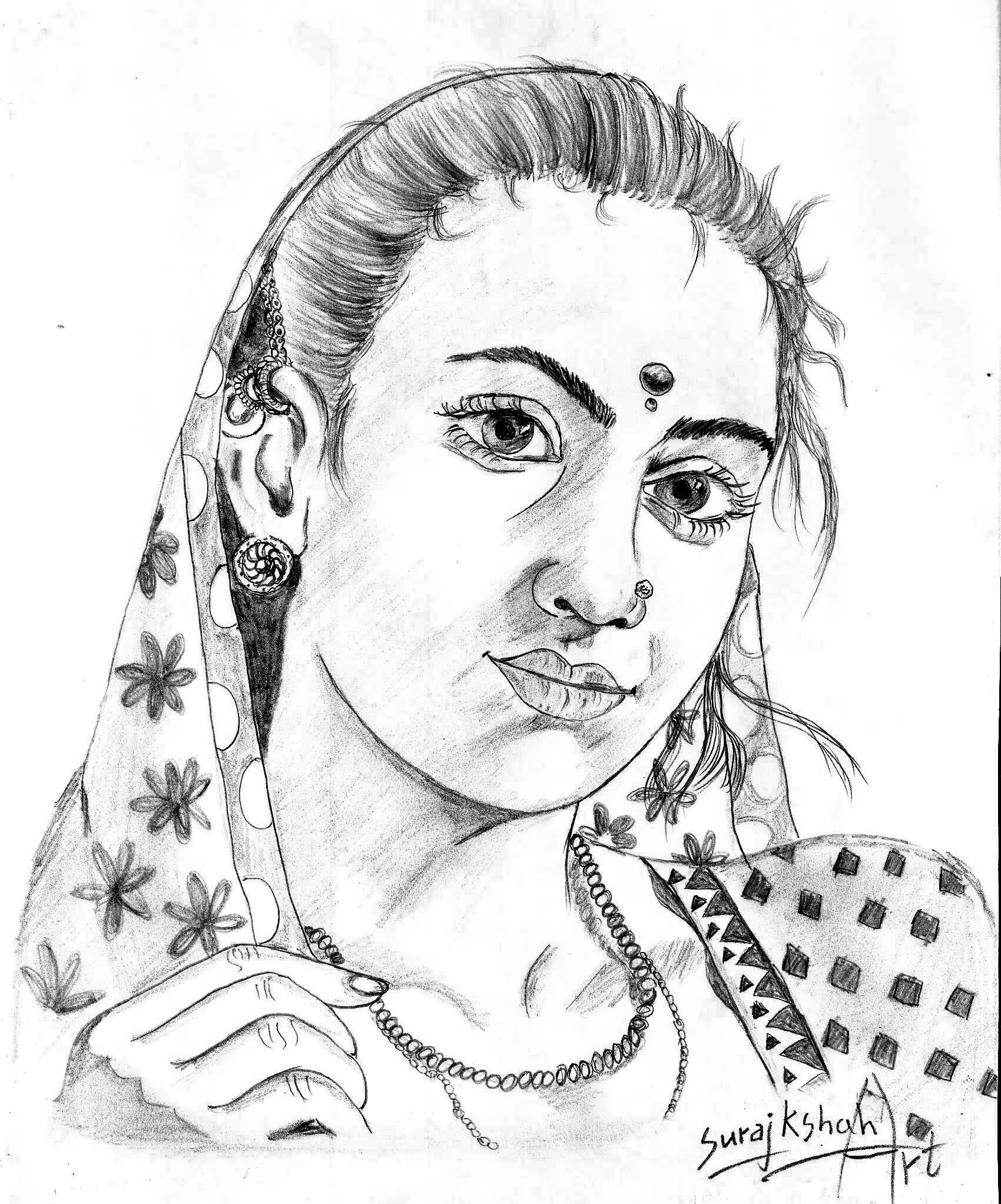 1700x2045 Nice Pic In Drawing In Beautiful Girl Village Pic Indian Beauty