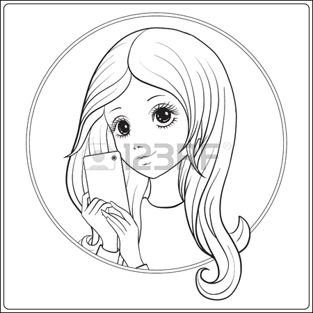 450x450 Young Nice Girl Long Hair And Unicorn Horn Surrounded