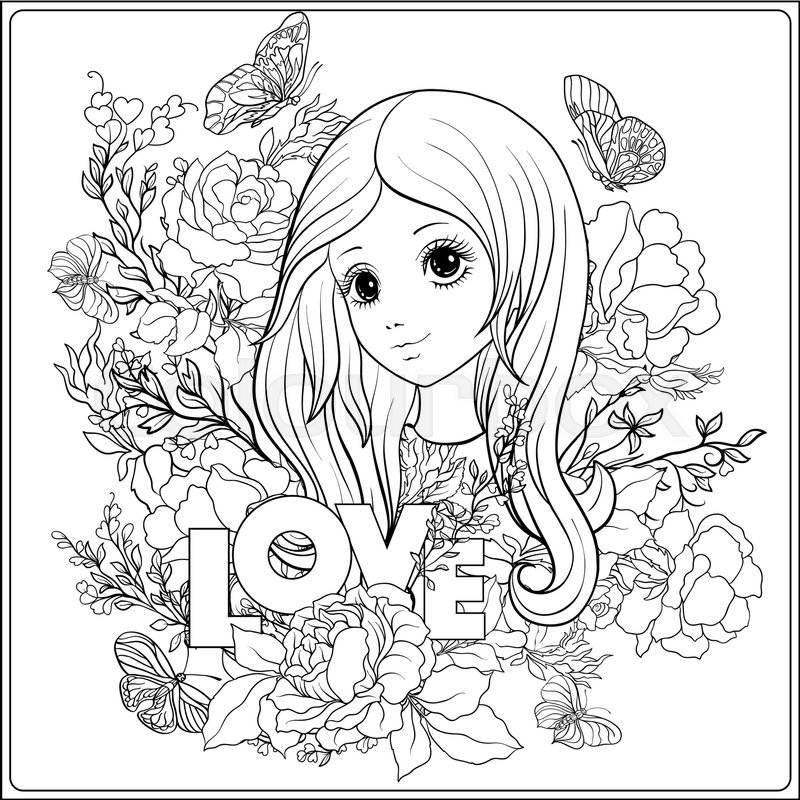 800x800 Young Nice Girl With Long Hear In The Garden Of Roses. Outline
